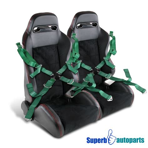 green racing seats 2x black suede pvc leather stitch racing seats green