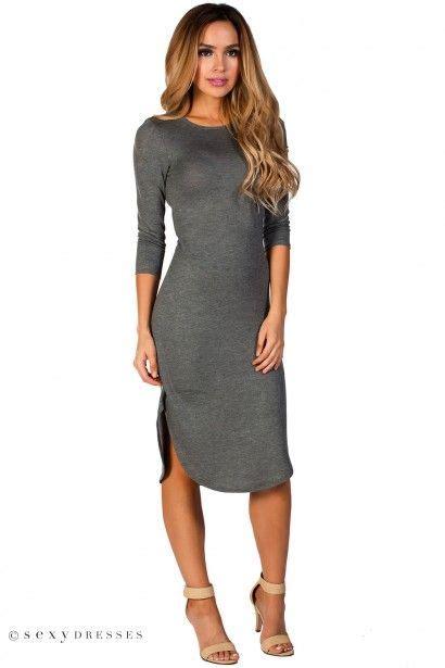 Midi Dress Knit 2 quot kaelyn quot grey 3 4 sleeve curved hem lightweight knit midi