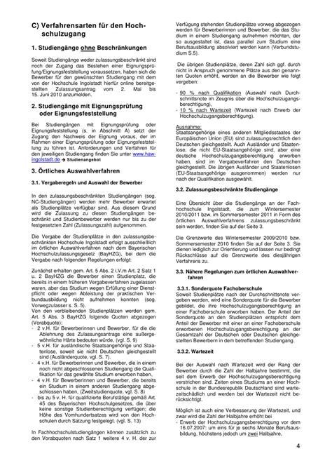 Bewerbung Hochschule Ingolstadt Infoblatt Zulassungsverfahren Ws 2010 2011 Ss 2011 28102010