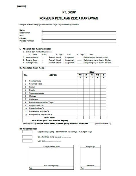 contoh laporan evaluasi kinerja karyawan formulir penilaian kinerja karyawan employee performance