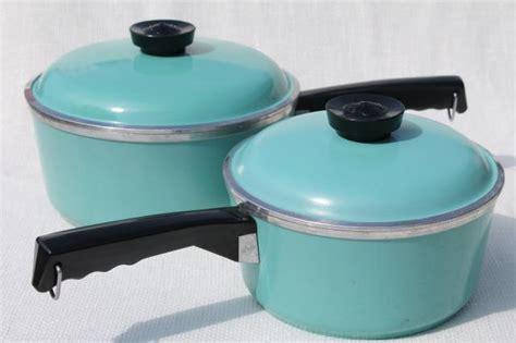 50s 60s vintage Club aluminum pots & pans in retro aqua