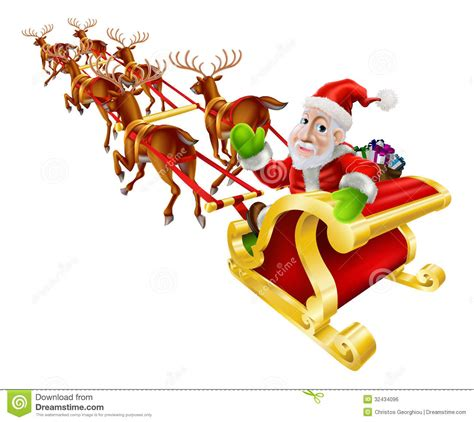animated photos of christmas santa claus with reindeer santa claus sled stock vector image 32434096