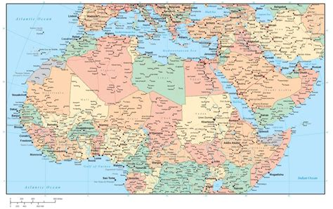 northern africa map africa and middle east region map with country areas