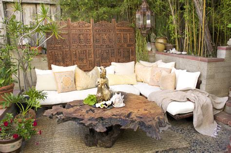 outdoor living bali india style retreat eclectic patio