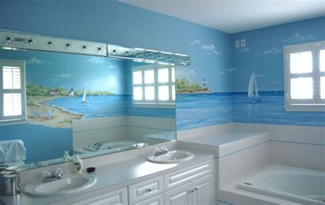 3d Wall Stickers For Bedrooms seascape mural in bathroom traditional bathroom