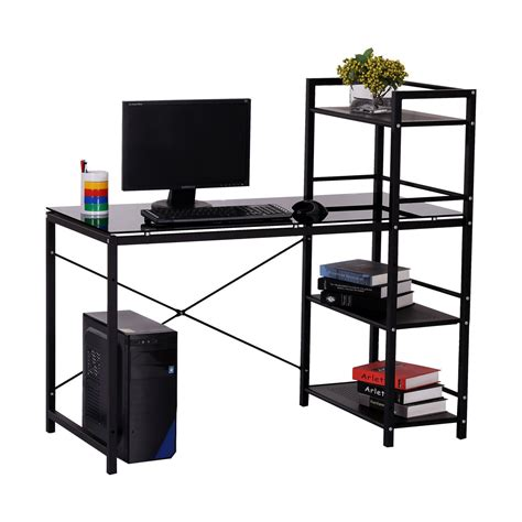 Office Desk With Shelf Homcom 50 Quot Modern Office Desk With Storage Shelves Bookcase Black Aosom