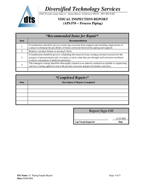 Piping Sle Report Sewer Inspection Report Template