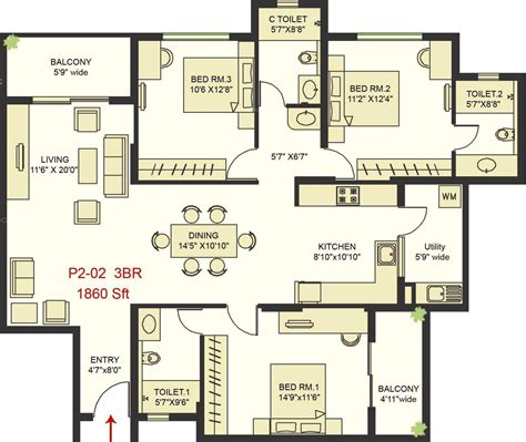 serenity floor plan 1860 sq ft 3 bhk 3t apartment for sale in snn raj serenity begur bangalore