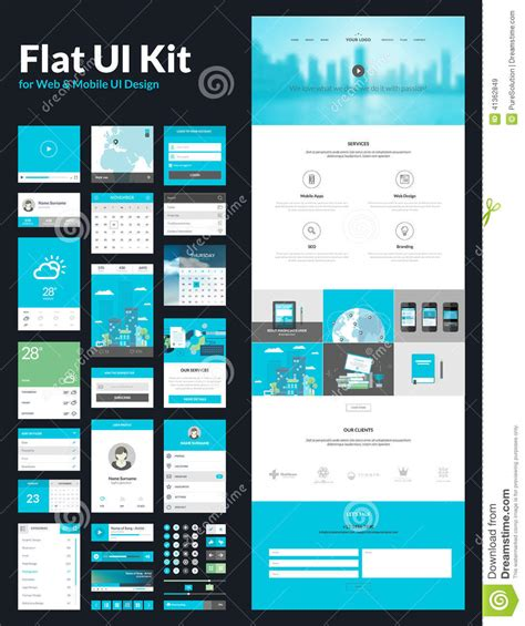 web layout ui kit one page website design template stock vector image