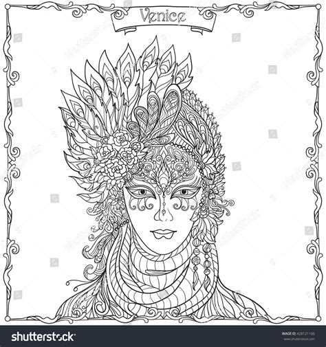 venetian masks coloring book for adults venetian mask carnival costume outline stock vector