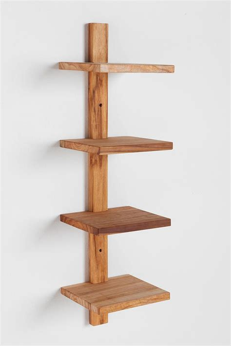 teak spine small wall shelf design at home