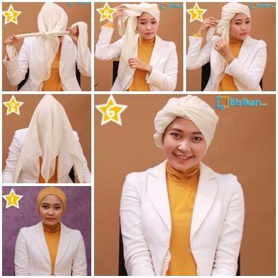 tutorial cara pake hijab turban kumpulan cara memakai kerudung segi empat turban