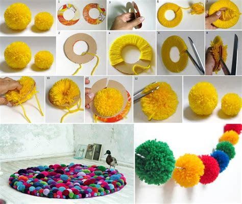How To Make Showpiece With Paper - pom pom rug creativity for home and creativity