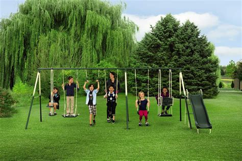 jump and swing set metal backyard swing set outdoor fun for the kids from kmart