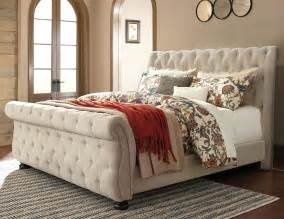 Upholstered Sleigh Bed King Signature Design By Willenburg California King Upholstered Sleigh Bed With Tufting