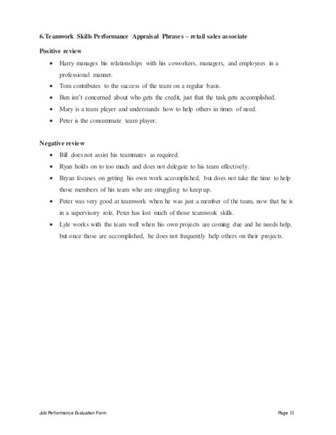 yearly employees review form and performance templates project