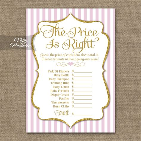 printable price is right bridal shower game printable price is right bridal shower pink gold