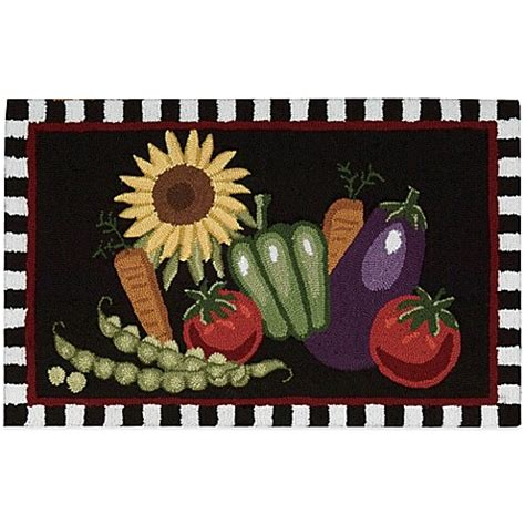 Vegetable Kitchen Rugs Nourison Vegetables 33 Inch X 20 Inch Kitchen Rug In Black Bed Bath Beyond