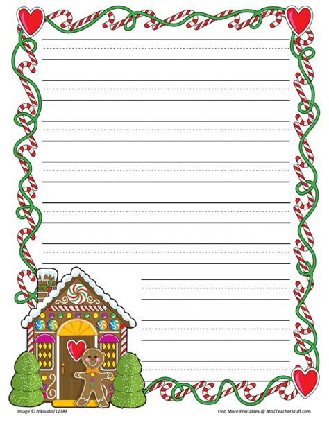 gingerbread writing paper gingerbread printable border paper with and without lines