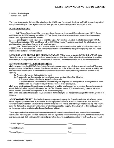 Commercial Lease Renewal Letter To Landlord Sle Wisconsin Lease Renewal Or Notice To Vacate Ez Landlord Forms