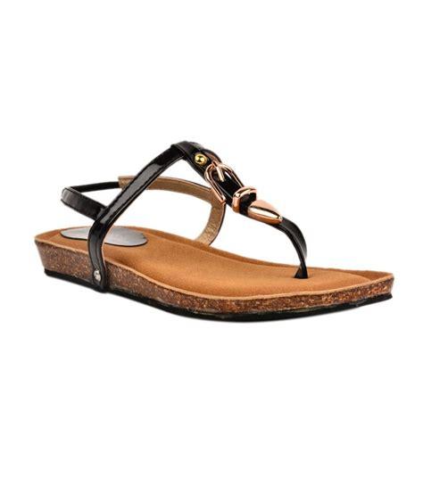 Faux Leather Flat Sandals ninelifestyle black faux leather flat sandal price in