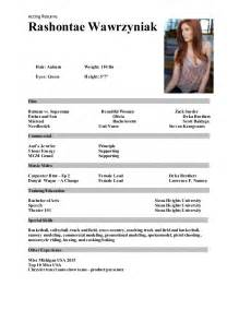 Acting And Modeling Resume Modeling And Acting Resume