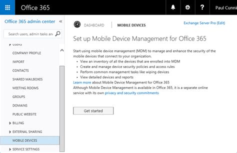 office 365 mobile device management initial configuration