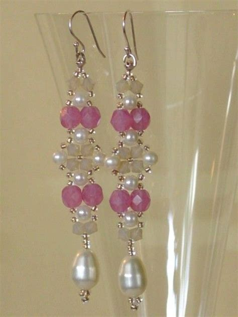 beadwork pink beadwoven beadwork earrings pink with pearls beaded