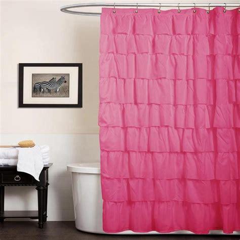 hot pink ruffle shower curtain kids hot pink ruffle curtain panels the land of nod