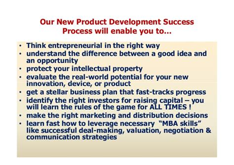 Mba New Product Development Process by New Product Development Success