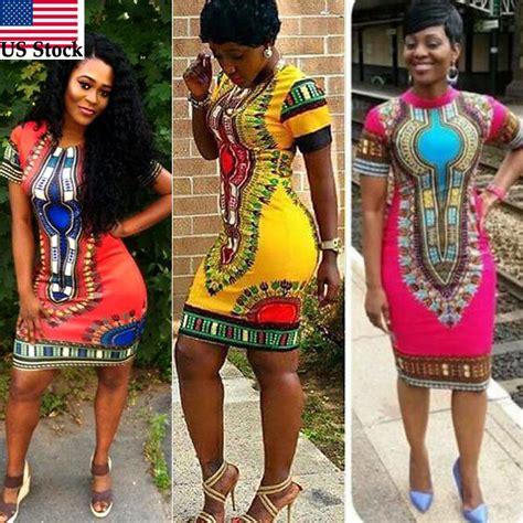africa ladies print wares women traditional african print dashiki dress short sleeve