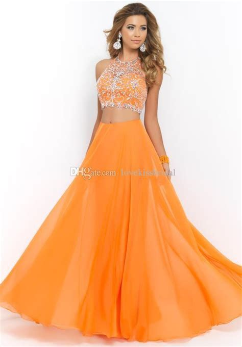 cheap 2015 prom dresses discount orange chiffon two