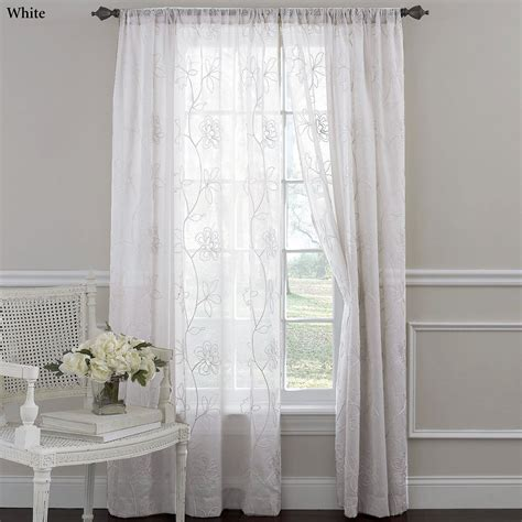 sheer panels curtains laura ashley frosting embroidered sheer curtain panels