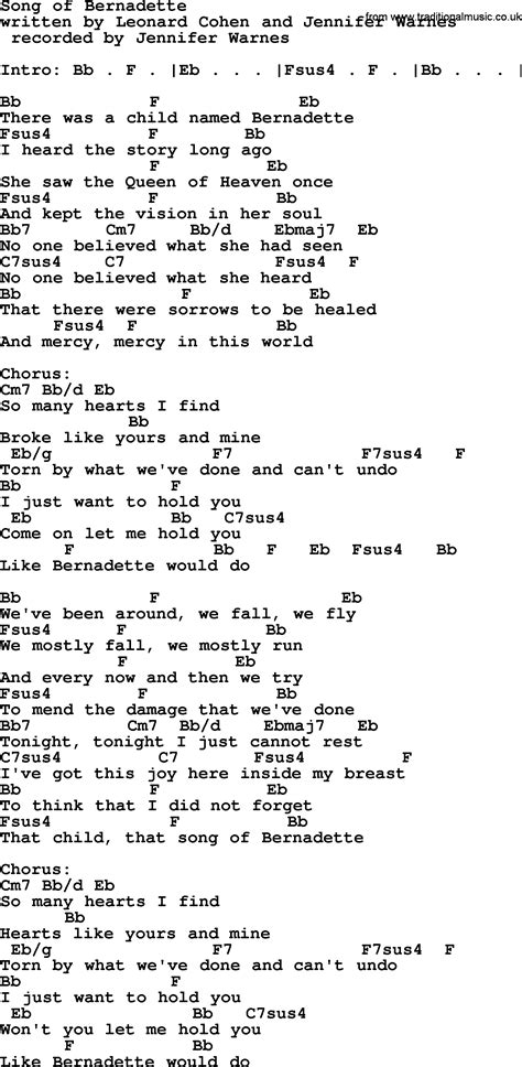 Or Lyrics Bernadette Leonard Cohen Song Song Of Bernadette Lyrics And Chords