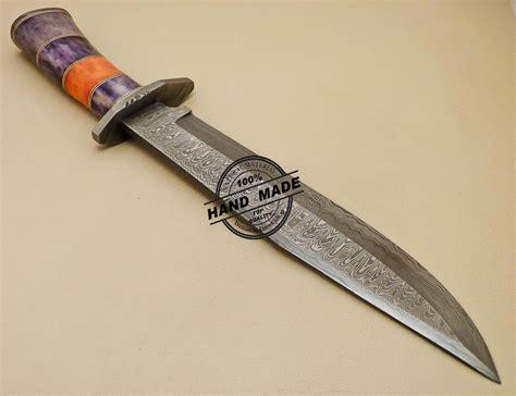 colored knives damascus bowie knife custom handmade damascus