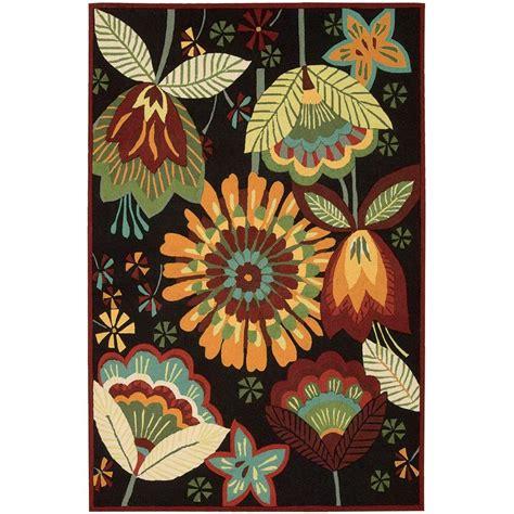 folk rug nourison folk flowers black 5 ft x 7 ft 6 in area rug 032751 the home depot