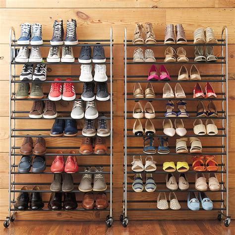 shelves for shoes shoe stand chrome metal 10 tier rolling shoe rack the container store
