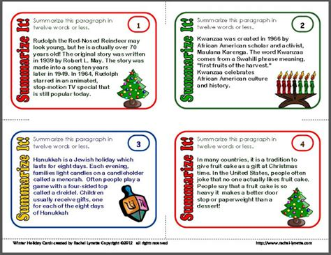 free summarizing task cards for hanukkah and kwanzaa minds in bloom