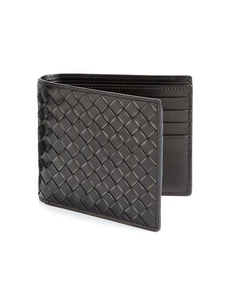 Bottega Veneta Wallet bottega veneta intreccio leather bifold wallet in black for lyst