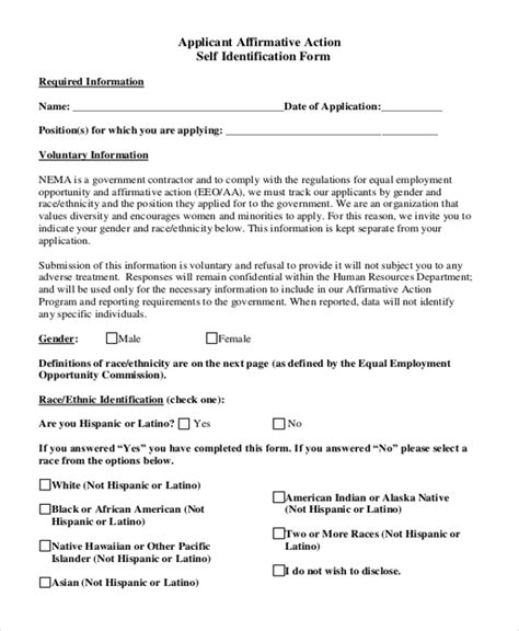 Sle Affirmative Action Form 10 Free Documents In Pdf Affirmative Template