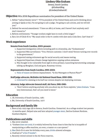 the observer news graham s resume for presidential candidate