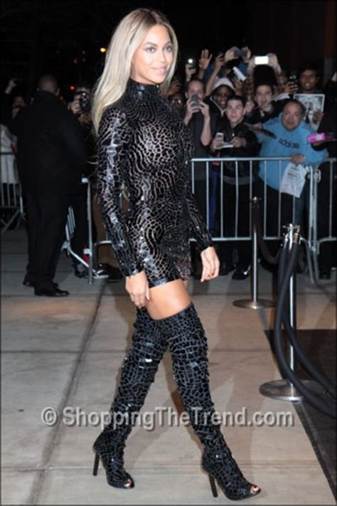 beyonce in tom ford in thigh high boots at album