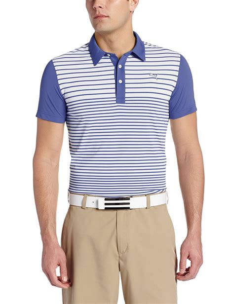 mens yarn dye stripe block golf polo shirts
