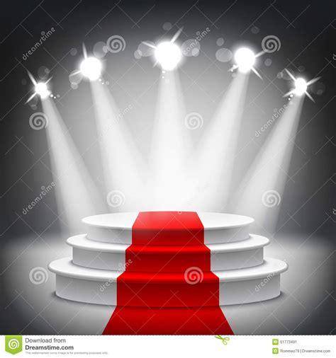 Illuminated Pedestal Illuminated Stage Podium Red Carpet Award Ceremony Vector