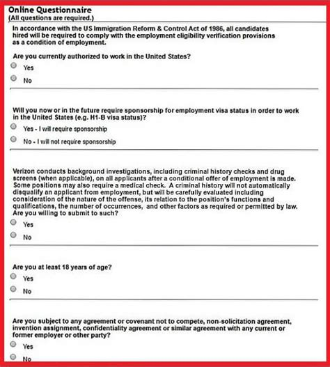 questionnaire sections verizon career guide verizon application job