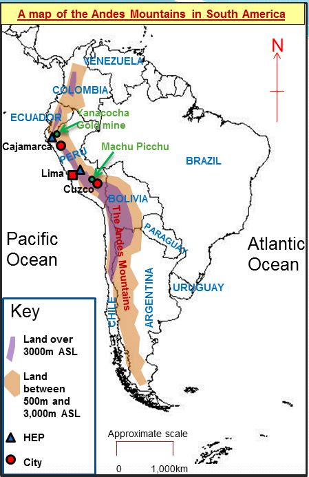andes mountains map andes mountains study