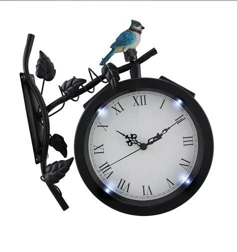 Lighted Outdoor Clock Bird On Branch Black Metal Solar Powered Led Outdoor Wall Clock Ebay
