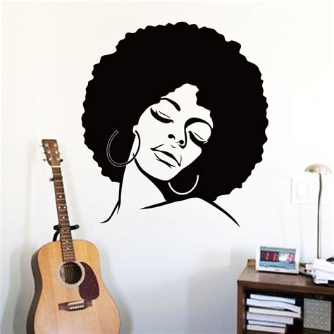 Cheap Home Decor Stores by Art Cheap Vinyl Home Decoration Afro Hair Silhouette Wall