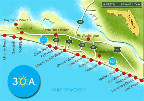 florida map of beaches 30a south walton map of scenic 30a and south walton florida