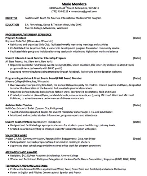 American Resume Exles by Teach For America Resume Sle Http Exleresumecv Org Teach For America Resume Sle